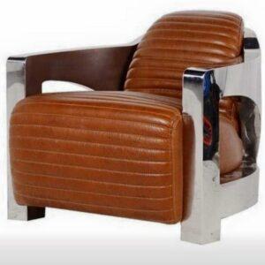 The Savoy Tan Leather & Chunky Chrome Armchair
