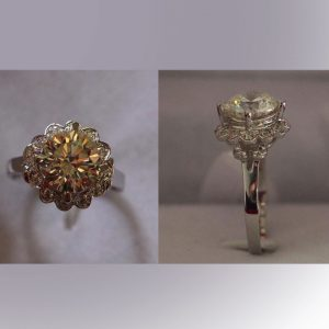 14K White Gold Diamond Ring & Synthetic Diamond Flower