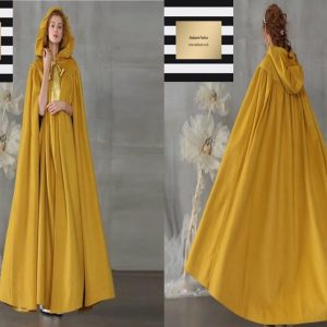 Yellow Hooded abaya cloak
