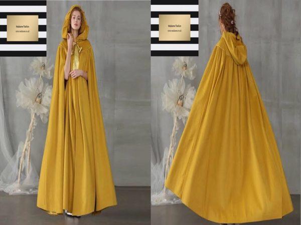 Yellow Hooded abaya cloak