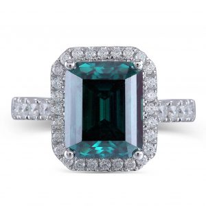 Emerald Moissanite Halo Engagement Ring In White Gold