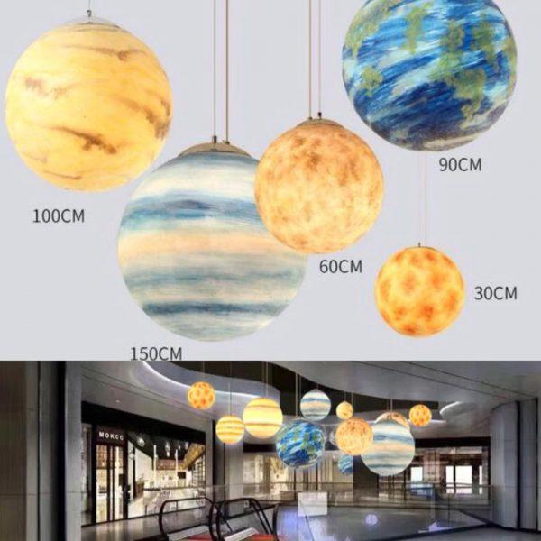 Moon Round Ball Chandelier Solar System Lights
