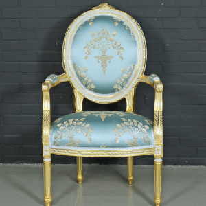 Baroque salon medaillon chair with turquoise armrests