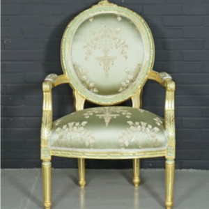 Baroque salon medaillon chair with green armrests