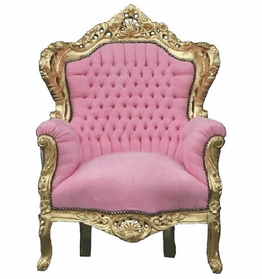 """Pink Baroque Chaise """"King"""" Armchair"""