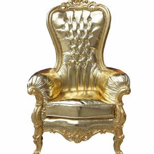 Baroque Majestic Throne Ladies Armchair in Medium Gold Leather