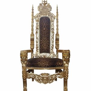 Gold Baroque Throne Armchair in Leopard Print