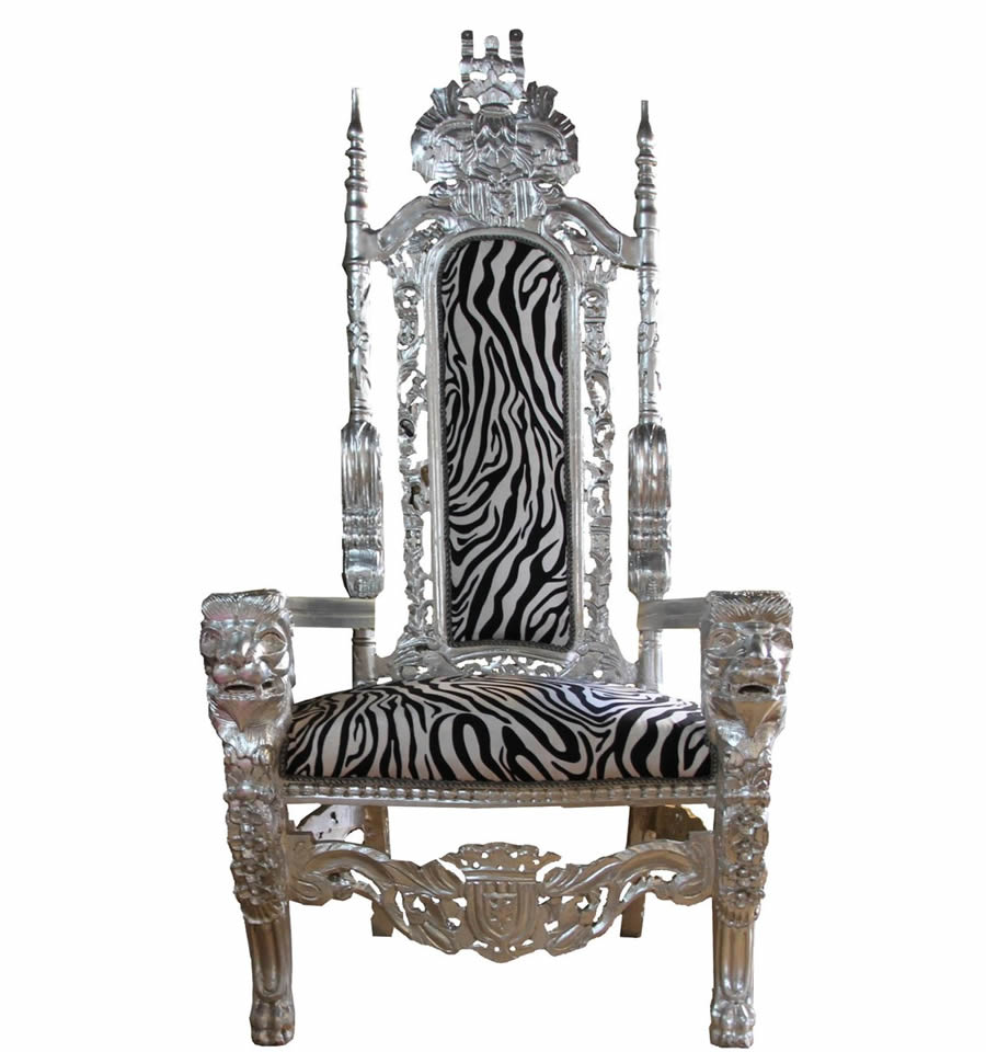 Silver Baroque Throne Armchair in Silver and Zebra Print