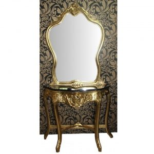 Baroque mirror gold console with marble top