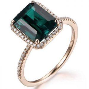 Wedding Band Halo Ring With Green Emerald Gem Stone