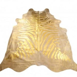 Glided Gold Zebra Rug