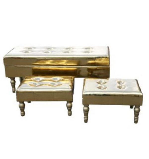 Gold High Gloss Antique French Style Bench Set