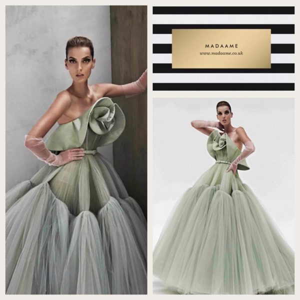 Haute Couture off the shoulder ball gown evening dress