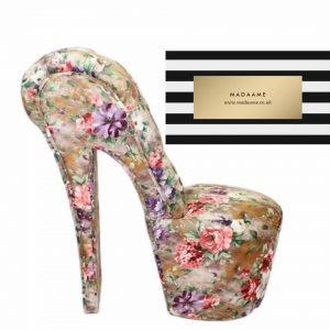 High Heel Platform Shoe Chair in flower pattern.