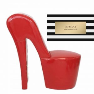 High Heel Platform Shoe Chair In Glossy Red