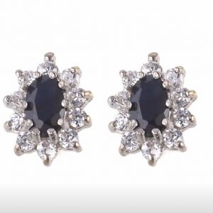 Stud Earrings Gold Sapphire