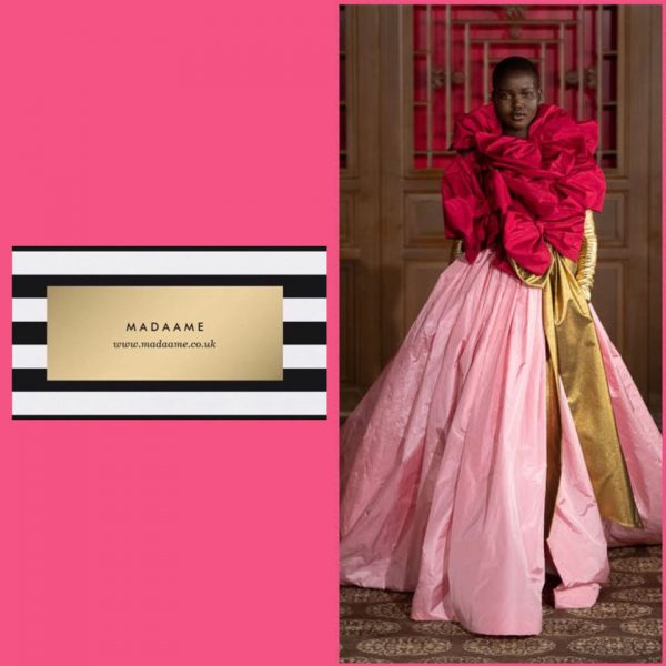 Haute Couture Pink Gown Featuring Red Bows And Golden Sash