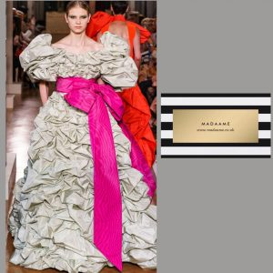 Haute Couture Silver Gown With Ruffled Shoulders and Pink Sash