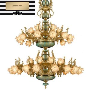 Italian Roses LED Ceramic Chandelier