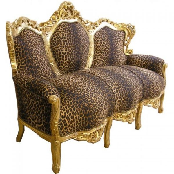 "Baroque Lounge Sofa ""King"" in Leopard Print"