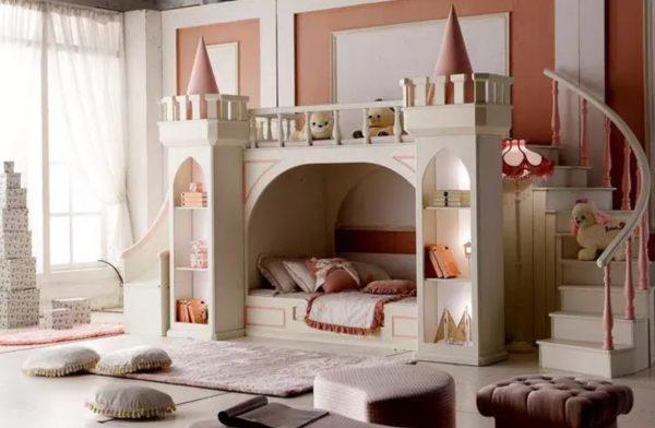 Luxurious Children's Castle Bunk Bed for Little Princesses