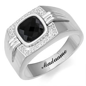 Madaame & Her Man Diamond Ring 9ct White Gold Smoky Quartz Stone
