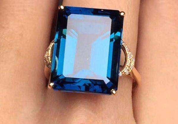 Natural Blue Topaz Ring For Women