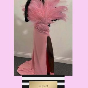 Pink Coutre Dress with feathers