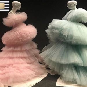 Ruffled Ball Gowns In Pink Or Mint Green