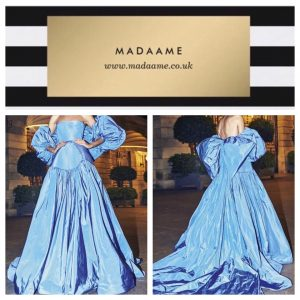 Saudi Arabic Sky Blue Taffeta Long Ball Gown Evening Dress