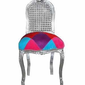 Handmade Silver Karo Stained Make-Up Chair