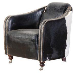 The Gaucho Black & White Cow Hide Arm Chair