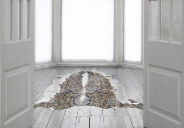 The Persian Cow hide Rug Brown in Blue and White