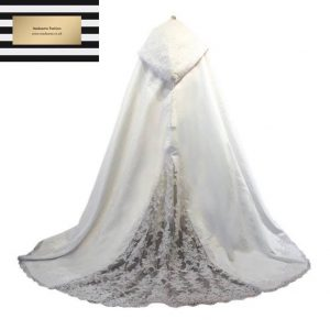 White Hooded Abay Cloak With Lace Edge
