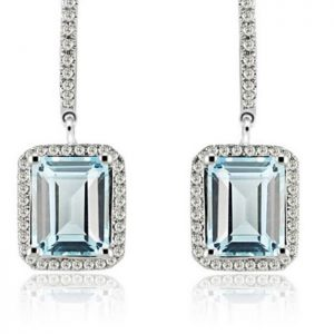 Blue Topaz Diamond Earrings In White Gold
