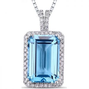 Blue Topaz Diamond Pendant In White Gold