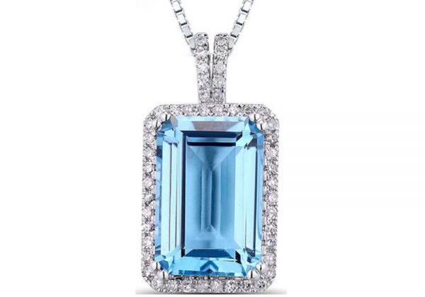 Blue Topaz Diamond Pendant In White Gold