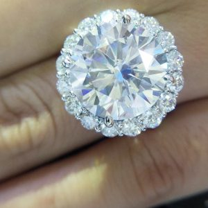 Double Halo Wedding Ring with Moissanite Diamond