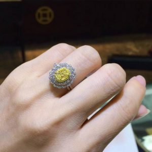 White Gold Wedding Ring With Oval Cut Yellow Diamond