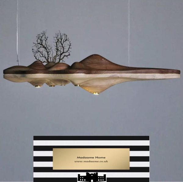 UFO Wood Resin Chandelier