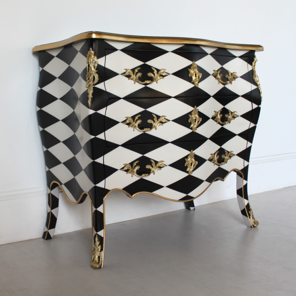 French Harlequin Design Three Drawer Chest Black and White