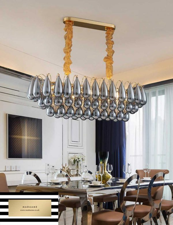 Modern Tear Drop Gold Chandelier Indoor lighting Smoked Grey Glass from Madaame