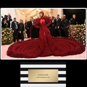 Cardi B Raspberry Burgundy Celebrity Dress