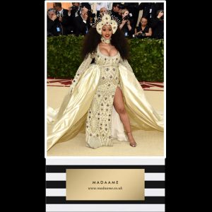 Cardi B Golden Long Sleeved Dress