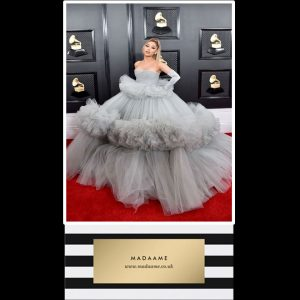 Grey Layered Tulle Ball Celebrity Gown