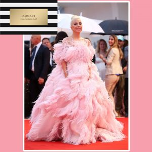 Lady Gaga Pink Feather Gown