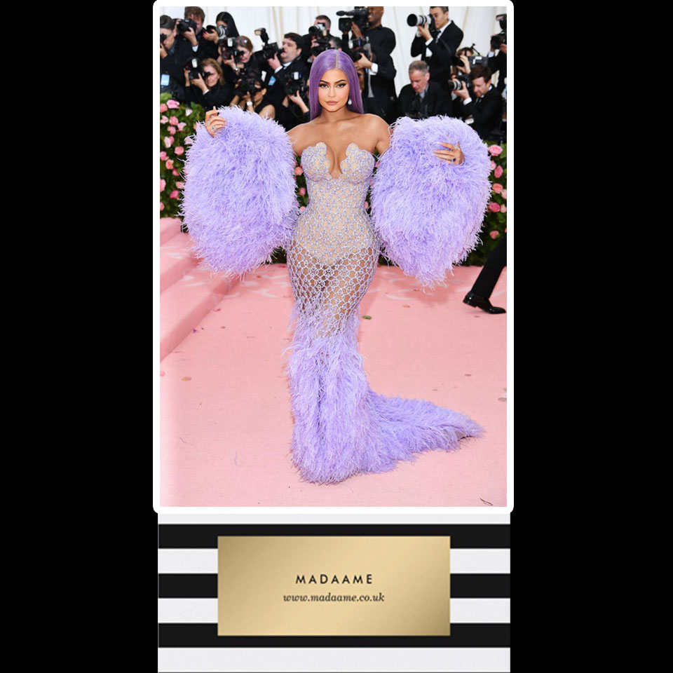 Feather and Sequin Mermaid Gown In Lavendar