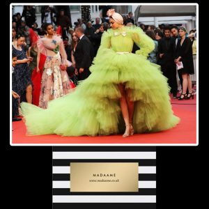 Lime Green Ruffled Celebrity Gown worn by Indian Icon Deepika Padukone