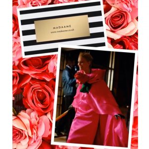 Rose Flower Pink Celebrity Gown with Flowing Cape