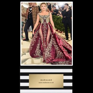 Ruby and Gold Celebrity Gown worn by Blake Lively at the Meta Gala 2018